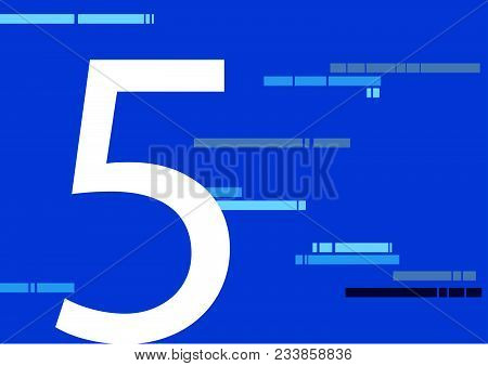 5, Five Number On Flat Blue Color With Abstract Lines