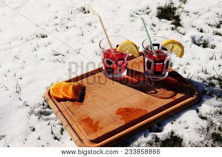 Every Good Party Have A Good Drinks. Alcohol And Juice Is Typical For These Celebrations. Snow And S