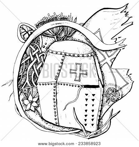 Vector Pattern With Middle Age Historical Warrior Helmet On Floral Backdrop. Uncolored Illustration.