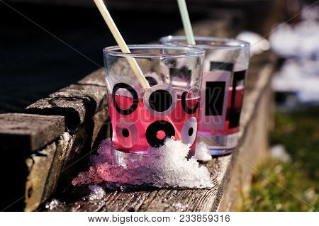 A Pink Cool Coctail For Thirsty People. Drink Is Prepared From Strawberry, Vodka, Syrup.