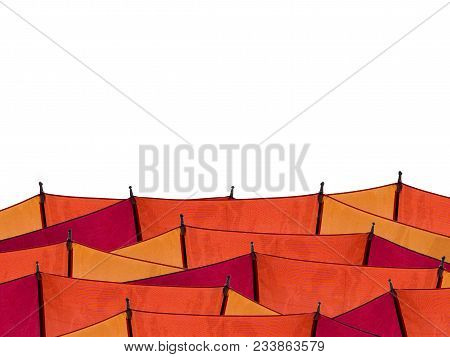 Red Orange Yellow Umbrella Isolated On White Background.