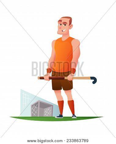 Funny Cheerful Player In Field Hockey. Vector Cartoon Character Design