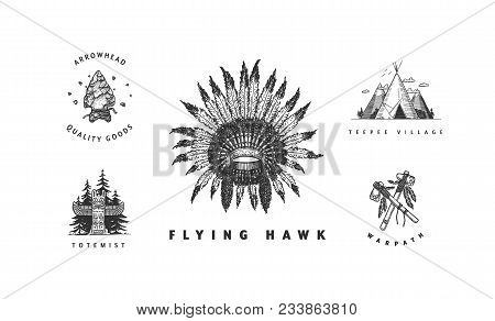 American Indian Vector Logos Collection. Cool Hand Drawn Sketchy Badges And Labels. Feather Headdres