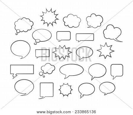 Vector Comic Speech Bubbles Collection. White Copyspaces For Dialogs Or Replicas. Empty Dialog Boxes
