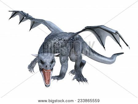 3D rendering of a fantasy dragon whelp isolated on white background poster