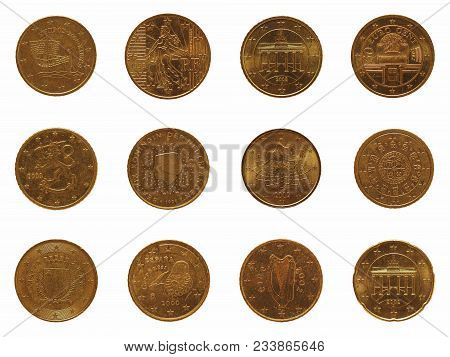 Many 20 Euro Cent Coins Money (eur) From Different Countries, Currency Of European Union