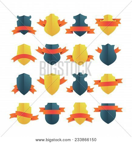 Bright Vector Shield Insignias With Red Ribbons. Gold And Black Medieval Shields Or Different Shapes