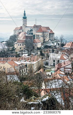 Mikulov Castle, Southern Moravia, Czech Republic. Travel Destination. Architectural Scene. Vertical