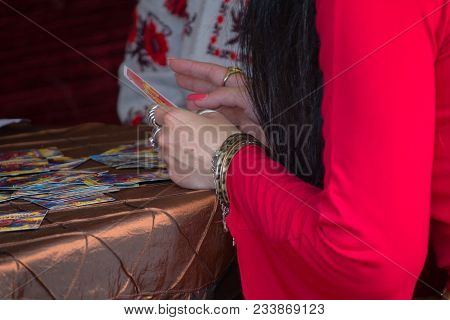 Hands Of The Fortuneteller Who Is Telling Fortune. Mysticism