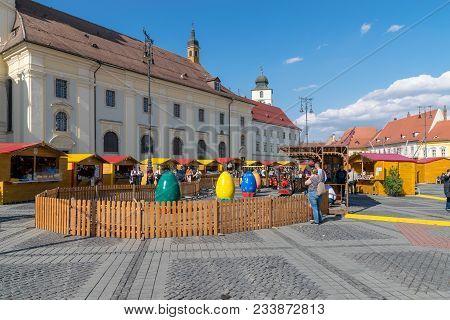 Sibiu, Romania - 30 March 2018: The Opening Of The Sibiu Easter Fair In Transylvania Region, Romania