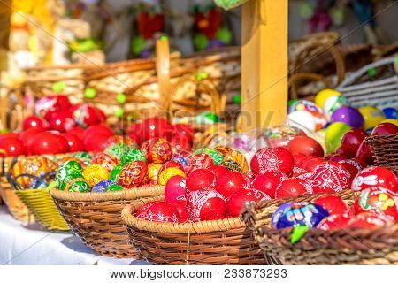 Sibiu, Romania - 30 March 2018: Traditional Easter Eggs At The Opening Of The Sibiu Easter Fair In T