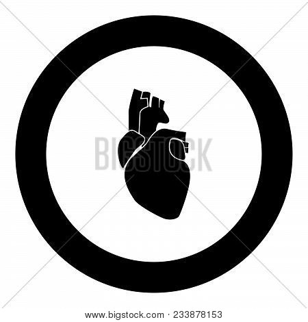 Human Heart Icon Black Color In Circle Vector Illustration Isolated