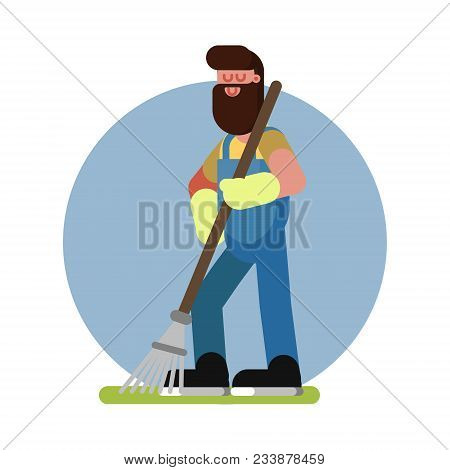 Man Cleans In The Garden With A Rake. Gardener With Rake At Work. Vector Illustration, Eps 10