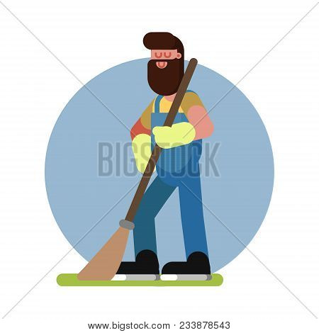 Man Cleans In The Garden. Gardener At Work. Vector Illustration, Eps 10