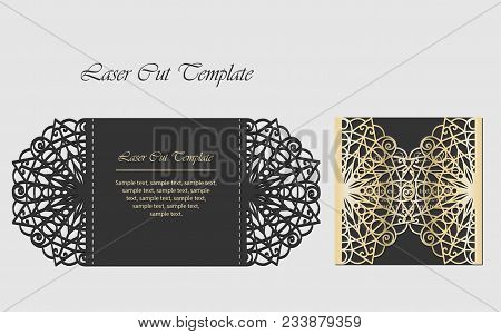 Laser Cut Gate Door Fold Card. Wedding Invitation Envelope.