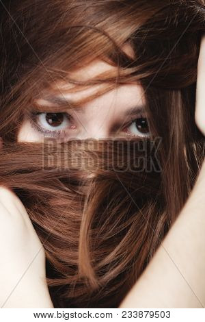 Loneliness Stress Anxiety And Women Concept. Closeup Portrait Beautiful Woman Dark Haired, Teen Girl