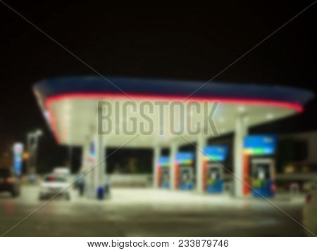 Blur Gas Petrol Station At Night Twilight.