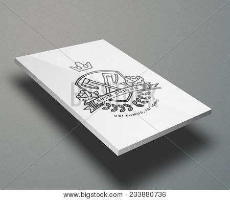 Nice Vector Mockup For Business Cards, Web Pages, Magazines Or Brochures. White Rectangle Background