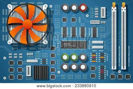 Top Down View Of A Motherboard. Vector Illustration Of A Chip Board With Microchips, Semiconductor T