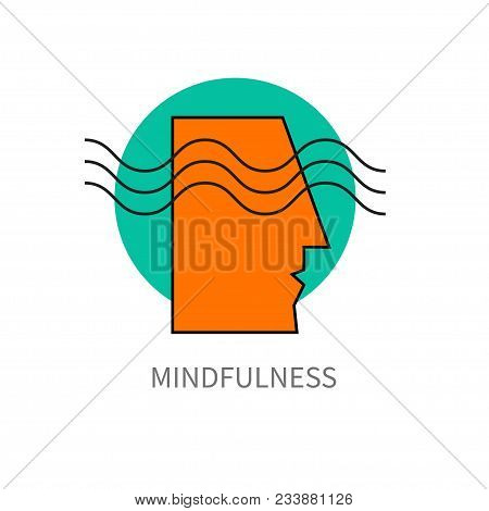 Mindfulness. Icon Head Of Man With Wave, Psychology, Imagination, Mind, Brainstorm Vector Illustrati