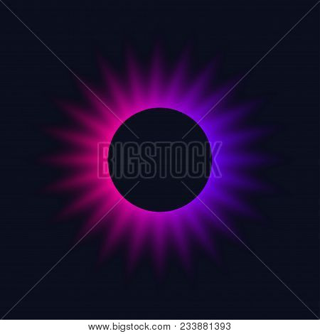 Neon Circle. Bright Blur Halo, Cosmic Round Frame, Abstract Techno Banner, Aura, Star, Glowing Ring
