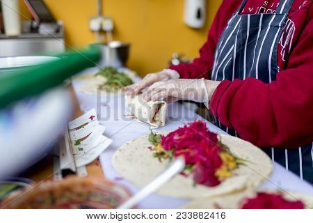 Food, Kebab, Healthy, Fresh, Person, Hands, Rubber Gloves, Hygiene, Grilled, Roasted, Food, Chicken,