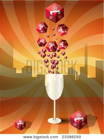 Wine glass and red presents