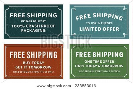 Cool Retro Free Shipping Coupons Or Banners. Four Different Typographic Designs Of Free Shipping Adv