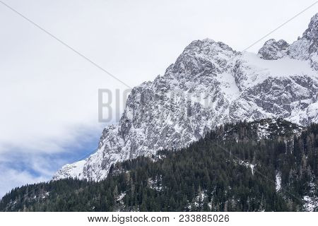 Close-up Of Amazing Snowy Mountains In The Bavarian Alps.  View To Beautiful Big Mountains And Green