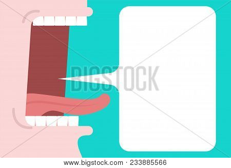 Open Mouth And Speech Bubble. Place For Text. Tongue And Teeth. Cartoon Style