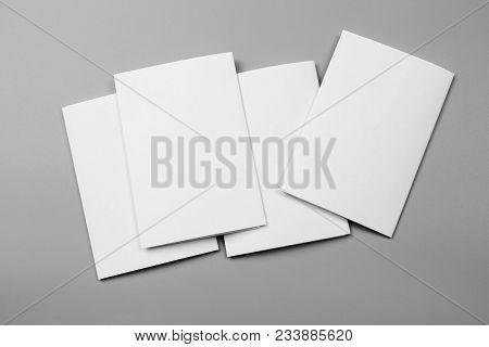 Blank Portrait A4. Changeable Background / White Paper Isolated On Gray. Identity Design, Corporate