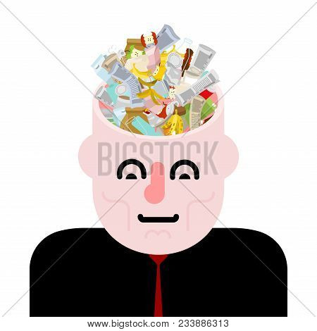 Garbage In Head. Rubbish In Brain. Open Head