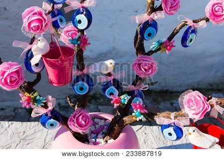 Evil Eye Bead Souvenirs.broken Glass Is Melted And Shaped. In Culture And Religious Belief, The Figu