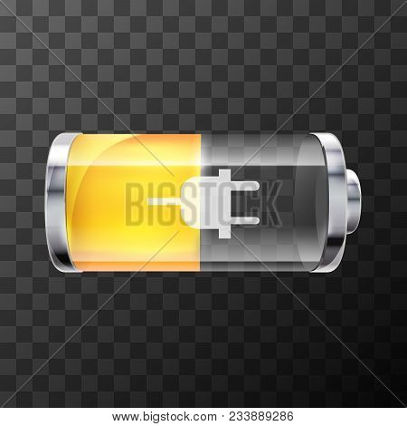 Fifty Percent Bright Glossy Battery Icon With Charging Symbol On Transparent Background