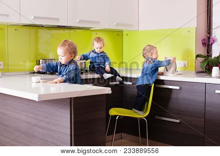 Danger Kitchen For Little Active Kids. Collage From Three Photos How Boy Risking Accident By Using A