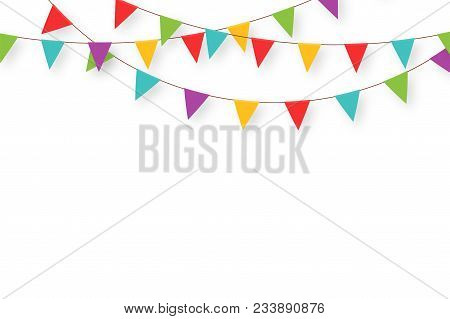 Carnival Garland With Flags. Decorative Colorful Party Pennants For Birthday Celebration, Festival A