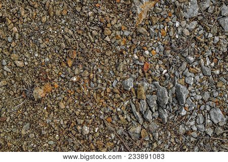 Stones On The Ground. Ground And Stones. Rocky Soil. Rock Background. Small Stones