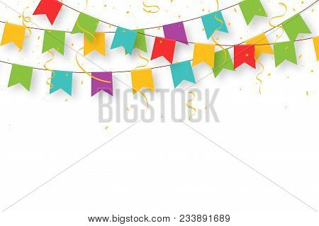 Carnival Garland With Flags, Confetti And Ribbons. Decorative Colorful Party Pennants For Birthday C