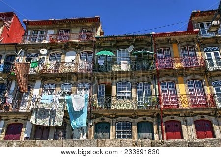 Typical And Colorful Houses Of Ribeira In Porto, Portugal