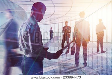 Businesspeople On Abstract Forex Background. Meeting, Finance And Future Concept. Double Exposure