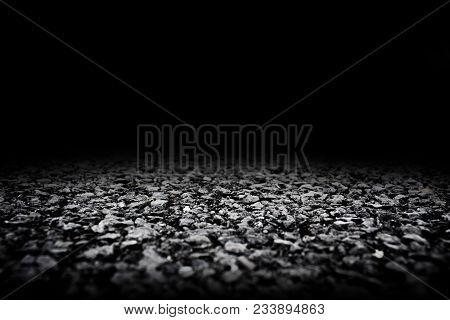 Black Asphalt Floor And Black Wall Background, Empty Asphalt Floor Space Platform With Library Backg