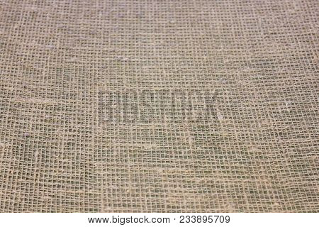 Linen Grid Hessian Texture Background, Simple Burlap Fabric Pattern. Sack Sacking Country Light Brow