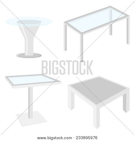 Coffee Table In 3d. Realistic Coffee Tables With Glass. A Set Of Realistic 3d Tables. Flat Design, V