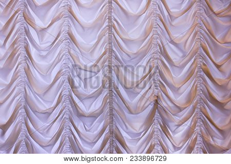 Curtain Design For Stage Or House Room Of White And Light Purple Soft Pastel Color. Elegant Curtains
