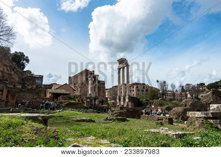 Rome, Italy, March 07, 2018: Horizontal Picture Of Green Grass And Ancient Buildings From The Ancien