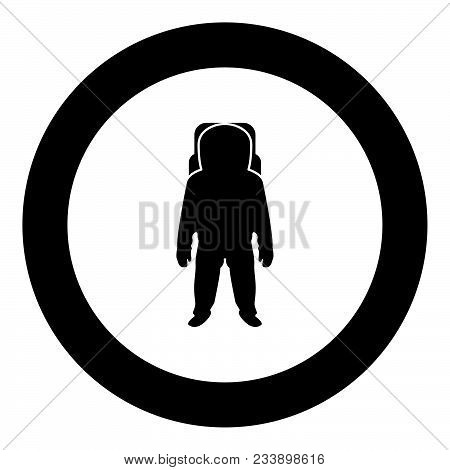 Spaceman Icon Black Color In Circle Vector Illustration Isolated