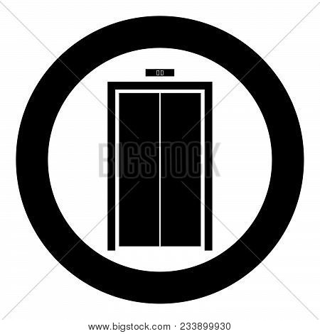 Elevator Doors Icon Black Color In Circle Vector Illustration Isolated