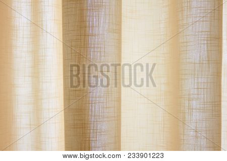 Light Colored Curtains Interior Window Decoration In Bedroom. Apartment Room Home Decor Detail, Soft