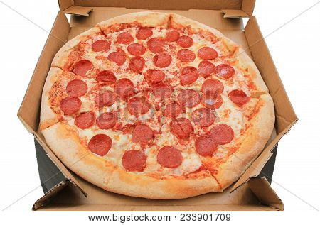Pepperoni Pizza In Delivery Box Close Up View Isolated On White Background. Traditional Classic Ital