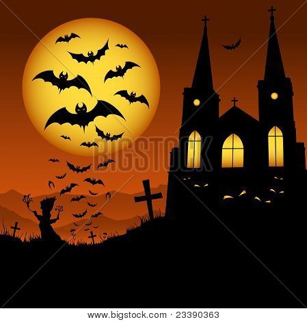 Halloween pumpkin bat and house on the moon